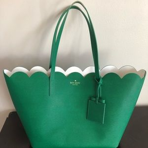 Kate Spade Scalloped Green Leather Tote